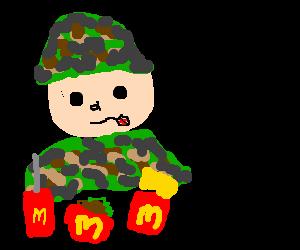Soldier thinking of war while eating at MCdonald