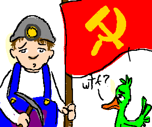 Soviet flag with miner and a duck