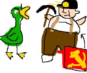Green duck is appaulled by fat Communist miner