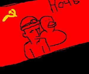 Soviet propaganda celebrates workers and ducks