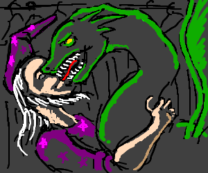 Dragon and wizard making out in a wardrobe.