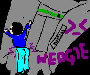 Poor kid gets wedgie in elevator