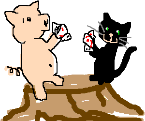 Pig and cat playing a card game on a stump