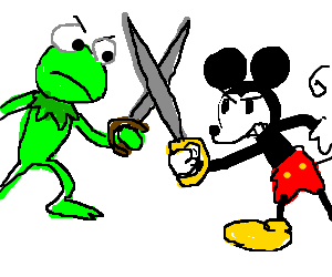 Kermit The Frog Vs Old Style Mickey Mouse
