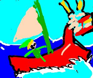 Toon Link sailing the ocean