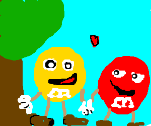 Yellow and red m and ms hold hands on a date
