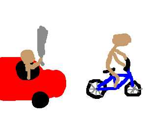 A bicyclist being chased by driver with a sword.