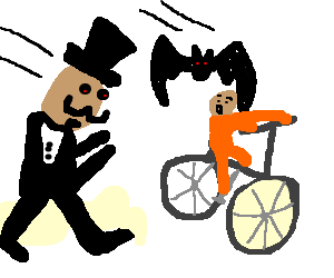 man with a bat, chasing a boy on a bike