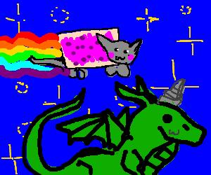 nyan cat flies past dragon