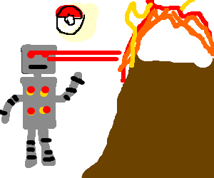 robot burns a mountain with his eyes, a pokeball