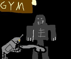 Bender sucks robo-cock in a gym