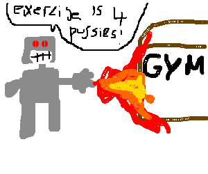 robot setting a gym on fire