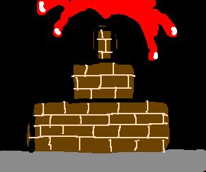 Blood fountain, brown bricks