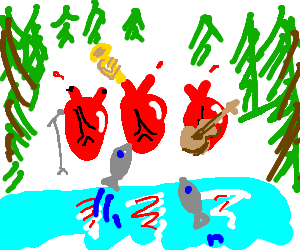 the band Heart sings Barracuda by a forest lake.