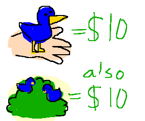 write an essay that illustrates a bird in hand is worth two in the bush