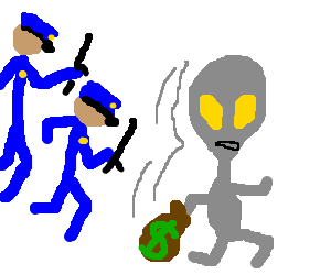 Alien running away from the cops