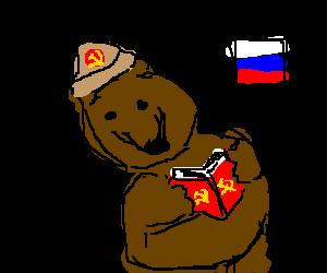 comunist russian bear reads communist book