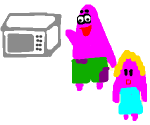 Patrick Star describes a microwave to wife.
