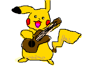 pikachu is playing the guitar