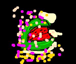 Confetti on a watermelon