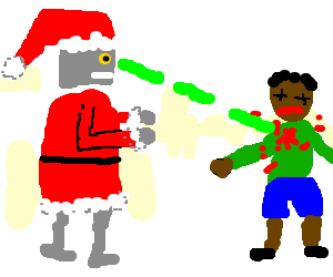 Robo-Santa shoots brown children in the chest