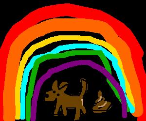 dog is shitting under the rainbow