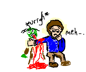 Zombies eating a sad guy