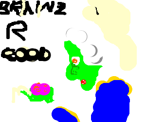 "Zombie George Washington says ""Brains Are Good"""