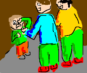 two men beating up a smaller person