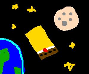 Legless, armless, faceless Spongebob in space
