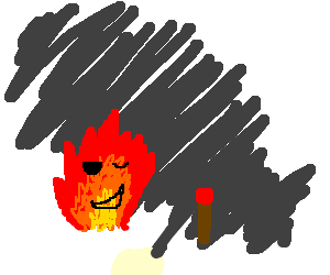 happy flame winks at a match