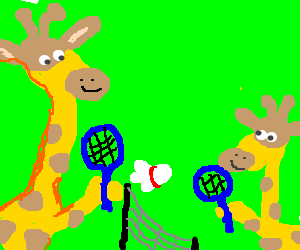 Giraffe father and son playing badminton