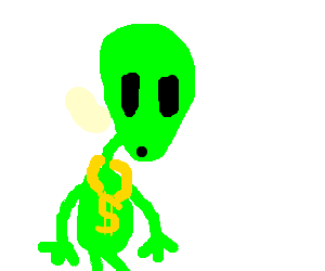 green alien with a dollar necklace