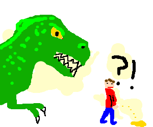 Man was peeing when suddenly a T-rex attacked