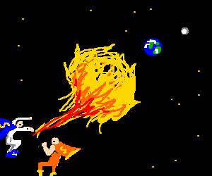 Superheroes send flaming ball towards tiny earth