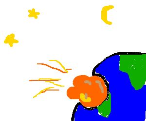 Earth deformed by huge meteor.
