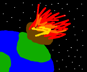 a meteorite hitting the earth