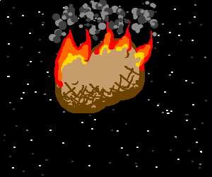 A giant flaming jacket potato in space.