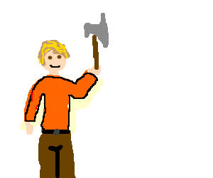 Man happily holds axe