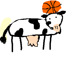 Cow playing basketball