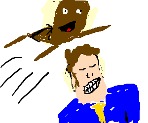 Man gets jumped by an anthropomorphic chair.