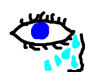 A blue eye is crying