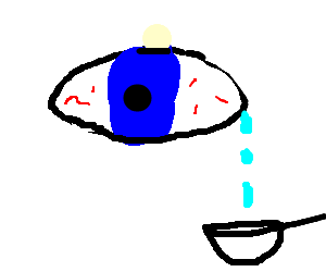 blue, teary eye; a device tries collecting drops