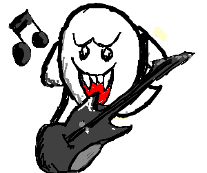 Boo Ghost From Mario Sings And Plays Guitar Drawing By Aray042