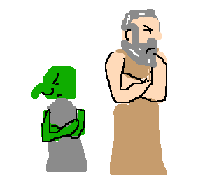 goblin and middle aged man disagreeing