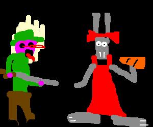 Bugs Bunny in drag fools Elmer Fudd