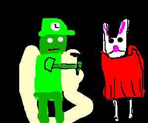 Zombie Luigi points gun at bunny in red dress