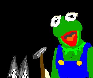 kermit on luigi's suit, hammer a bunny