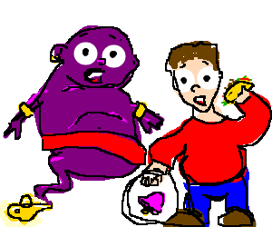 A purple genie and a taco bell guy in awe