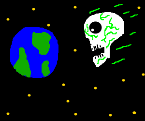 Toxic space skull about to ram into earth